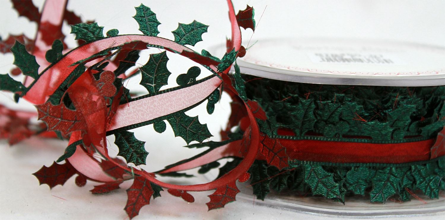 Holly Themed Christmas Ribbons