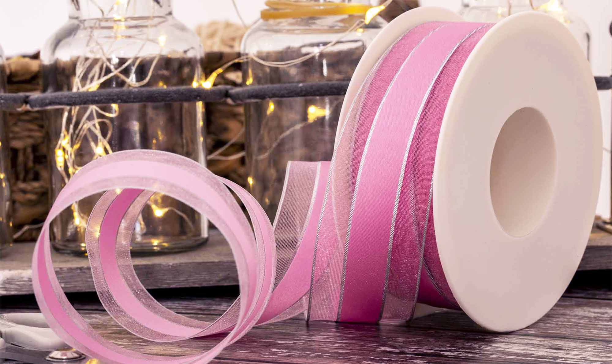 Sheer Ribbon With Wide Satin Centre