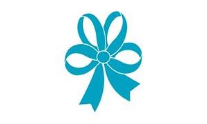 15mm blue polka flake ribbon