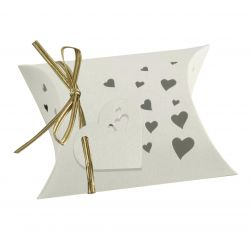 Wedding Favour Box - Pillow Style In Ivory x 5