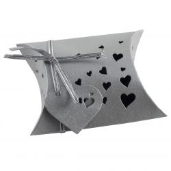 Wedding Favour Box - Pillow Style In Silver x 5