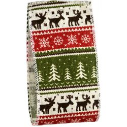 Christmas Reindeer Nordic Style Wire Edged Ribbon 63mm x 10yrds