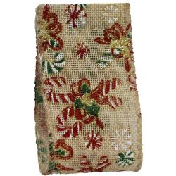 Candy cane wired hessian Christmas ribbon 63mm x 10yrds