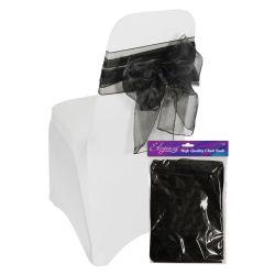 Organza Sheer Wedding Chair Sash In Black