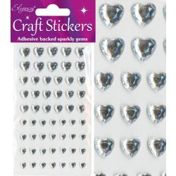 6mm - 10mm Mixed Diamante Hearts -  Stick On Gems