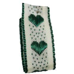 Jacquard Heart Ribbon 15mm x 20m Col: Green