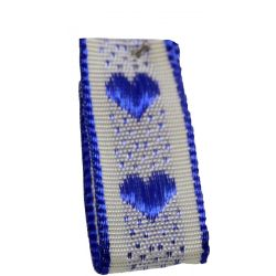 Jacquard Heart Ribbon 15mm x 20m Col: Royal Blue