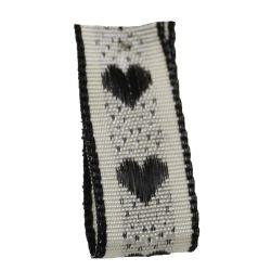 Jacquard Heart Ribbon 15mm x 20m Col: Black