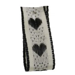 Jacquard Heart Ribbon 15mm x 4m Col: Black