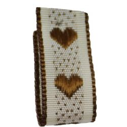 Jacquard Heart Ribbon 15mm x 4m Col: Brown
