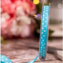 Turquoise Lightweight Taffeta with White Polka Dot - 10mm x 20m