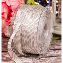 10mm Silver Grey & White Grosgrain Ribbon x 100m