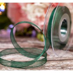 Forest Green Sheer Ribbons | Organza Ribbons 10mm x 25m By Berisfords Ribbons col: 969