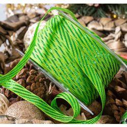 10mm green taffeta with green metallic stripe
