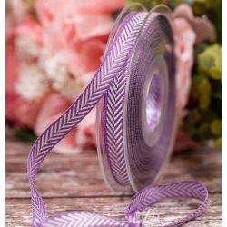 10mm Lilac Herringbone stripe ribbon By Berisfords Ribbons