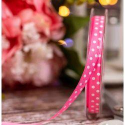 Pink Lightweight Taffeta with White Polka Dot - 10mm x 20m