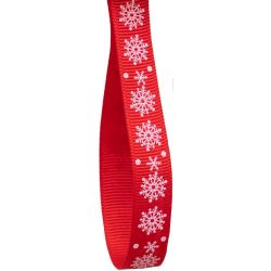 10mm Red Grosgrain With White Snowflake x 20m