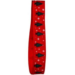 10mm Red Grosgrain Ribbon With Christmas Tree & Snowflake Design