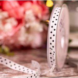 White Lightweight Taffeta with Black Polka Dot - 10mm x 20m