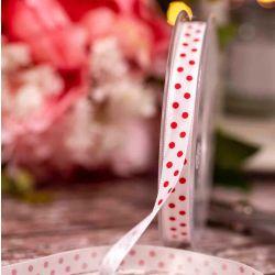 White Lightweight Taffeta with Red Polka Dot 10mm x 20m