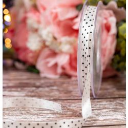 10mm White Satin Ribbon With Black Micro Dot Print By Berisfords Ribbons