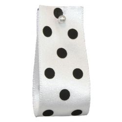 Polka Dot Ribbon By Berisfords Ribbons 15mm Col: White