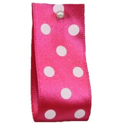 25mm Polka Dot Ribbon By Berisfords Ribbons Col: Shocking Pink