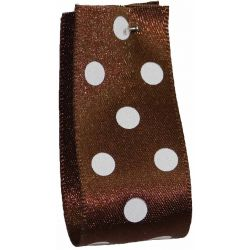 25mm Polka Dot Ribbon By Berisfords Ribbons Col: Brown