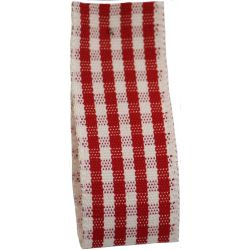 Rustic Gingham Ribbon in Red (Colour 15) - available in 7mm - 25mm widths