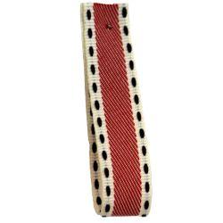 Vintage Stitch Ribbon 15mm x 15m col 2 - Red