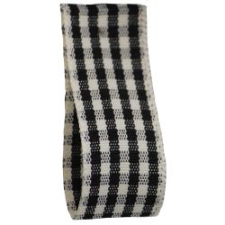 25mm x 3m Rustic Gingham Ribbon Col: Black - 10