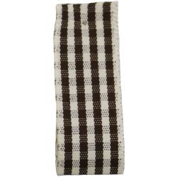25mm x 3m Rustic Gingham Ribbon Col: Brown - 15