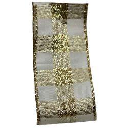 Cream & Gold Check Christmas Ribbon 25mm x 25m