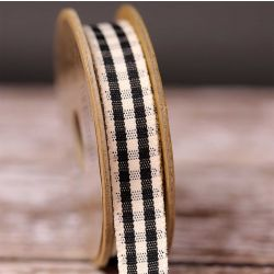 Rustic Gingham Ribbon in Black 15mm x 4m