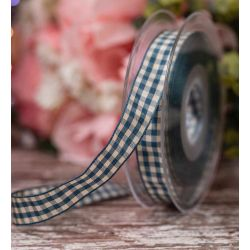 15mm Natural Gingham In Blue By Berisfords Ribbons