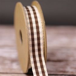 Rustic Gingham Ribbon in Brown 15mm x 4m