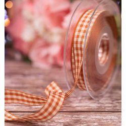 15mm Copper Gingham Ribbon By Berisfords Ribbons