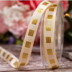 Dot Ribbon in Cream with Gold Stitched Square Pattern 15mm x 15m. Art 60179