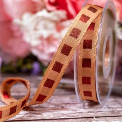 15mm Broze Ribbon With Copper Stitched Squares By Berisfords Ribbons