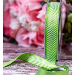 16mm green Herringbone Ribbon By Berisfords Ribbons