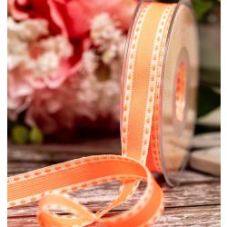 15mm Neon Orange Stitched Ribbon By Berisfords Ribbons