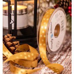 15mm Old Gold Satin Ribbon With Metallic Gold Polka Flakes