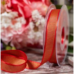 Red and Gold Shine Ribbon By Berisfords Ribbons In A 15mm Width