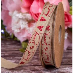15mm x 20m Red heart to heart printed ribbon by Berisfords