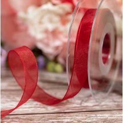 Scarlet Berry Sheer Ribbons | Organza Ribbons 15mm x 25m By Berisfords Ribbons col: 908
