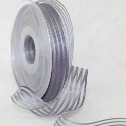 25 x 20m Satin & Sheer Stripe Ribbon In Silver Grey