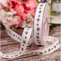 15mm White Grosgrain Ribbon With Brown Paw Print Design