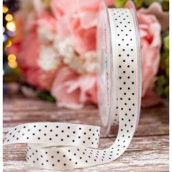 15mm White Micro Dot Ribbon By Berisfords Ribbons