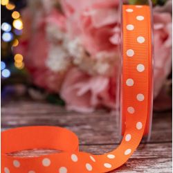 Neon Orange Grosgrain with White Polka Dots 16mm - Article 14437