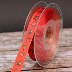 16mm Orange Patchwork Star Ribbon